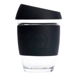 joco reusable glass cup black 12oz